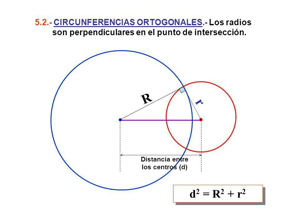 5.2.- CIRCUNFERENCIAS ORTOGONALES.- Los radios son perpendiculares en el punto de intersección. d 2 = R 2 + r 2 Distancia entre los centros (d) r R