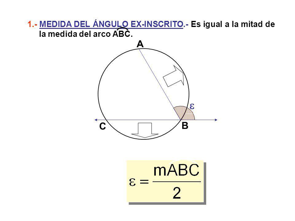A B C 1.- MEDIDA DEL ÁNGULO EX-INSCRITO.- Es igual a la mitad de la medida del arco ABC.