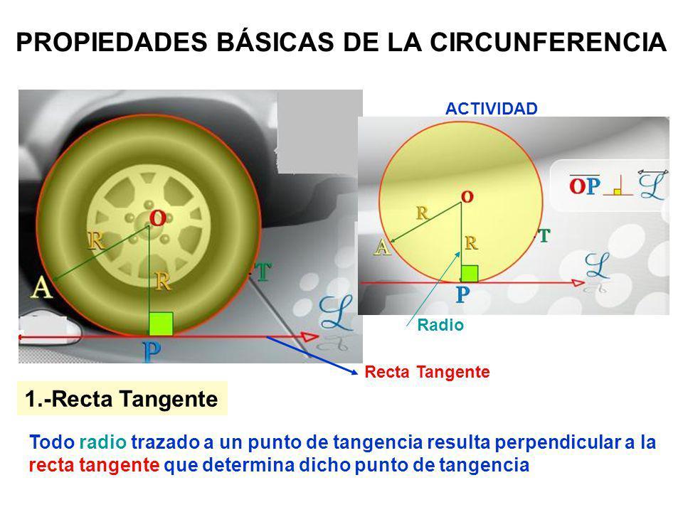 PROPIEDADES BÁSICAS DE LA CIRCUNFERENCIA Todo radio trazado a un punto de tangencia resulta perpendicular a la recta tangente que determina dicho punt