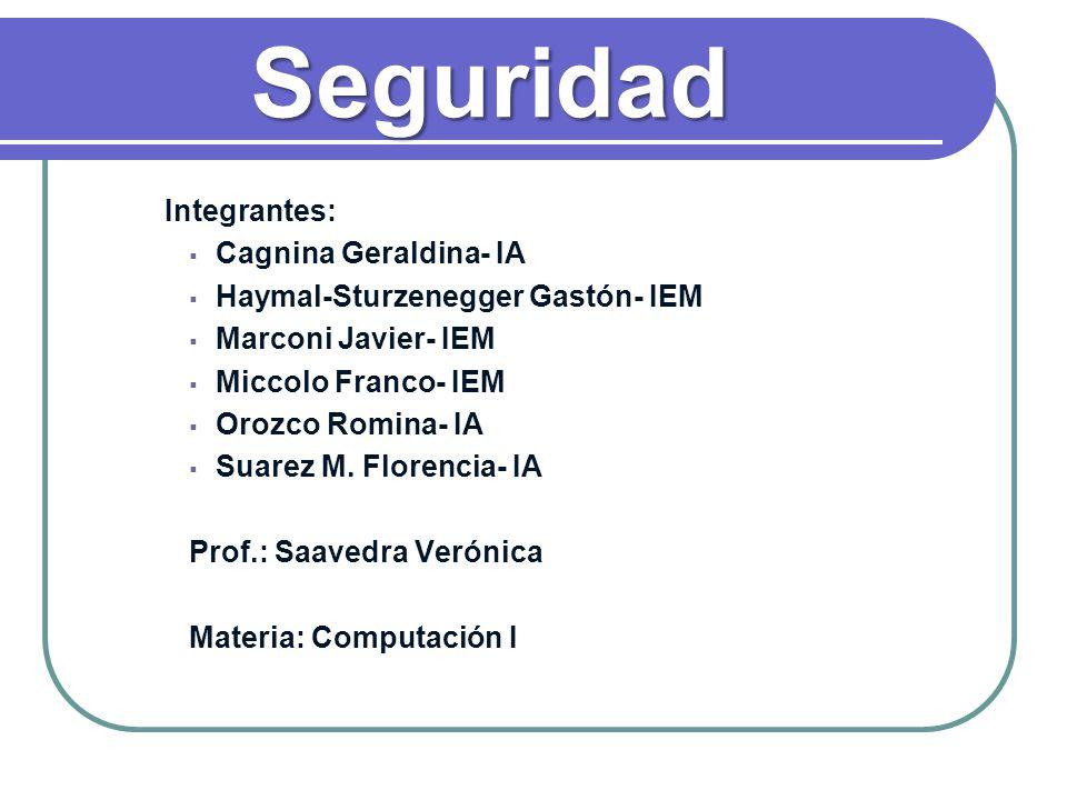 Seguridad Integrantes: Cagnina Geraldina- IA Haymal-Sturzenegger Gastón- IEM Marconi Javier- IEM Miccolo Franco- IEM Orozco Romina- IA Suarez M. Flore