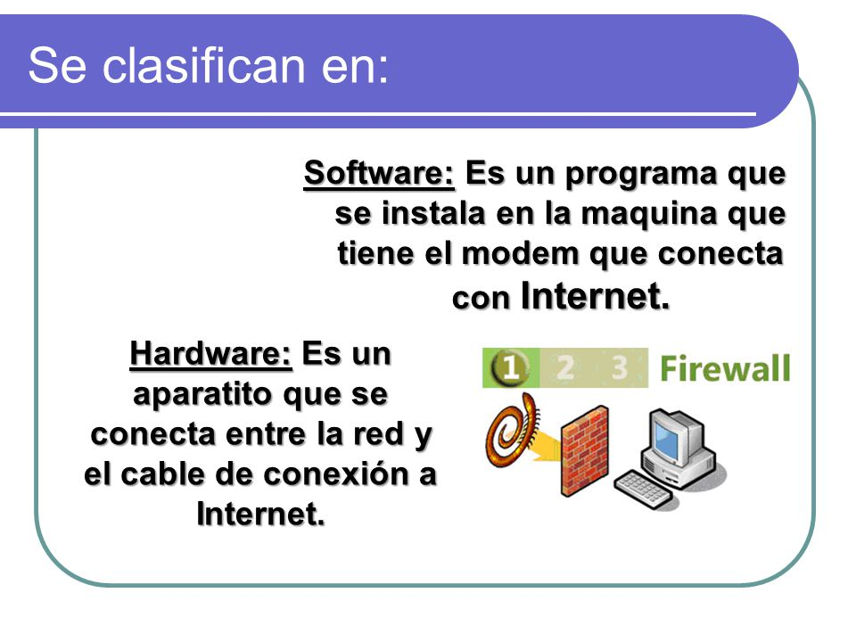 Se clasifican en: Software: Es un programa que se instala en la maquina que tiene el modem que conecta con Internet. Hardware: Es un aparatito que se