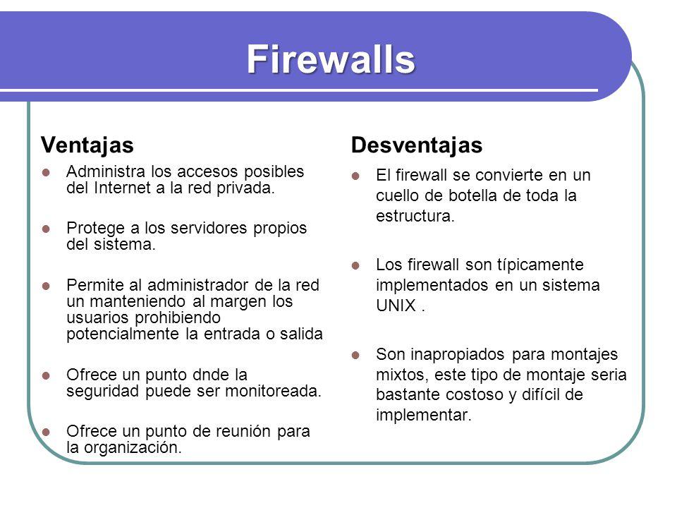 Firewalls Ventajas Administra los accesos posibles del Internet a la red privada. Administra los accesos posibles del Internet a la red privada. Prote