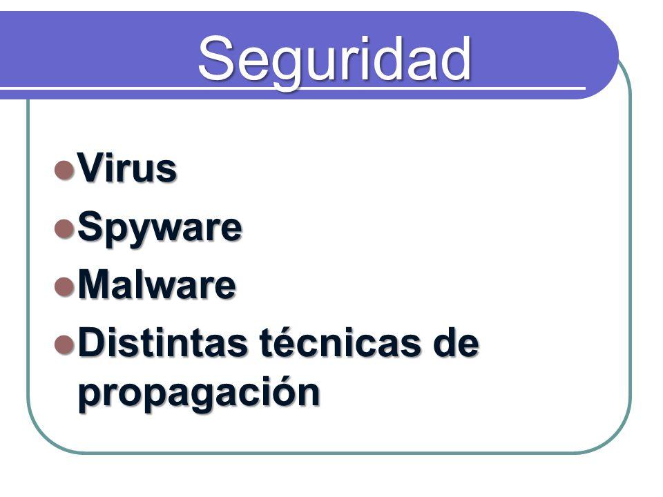 Seguridad Virus Virus Spyware Spyware Malware Malware Distintas técnicas de propagación Distintas técnicas de propagación
