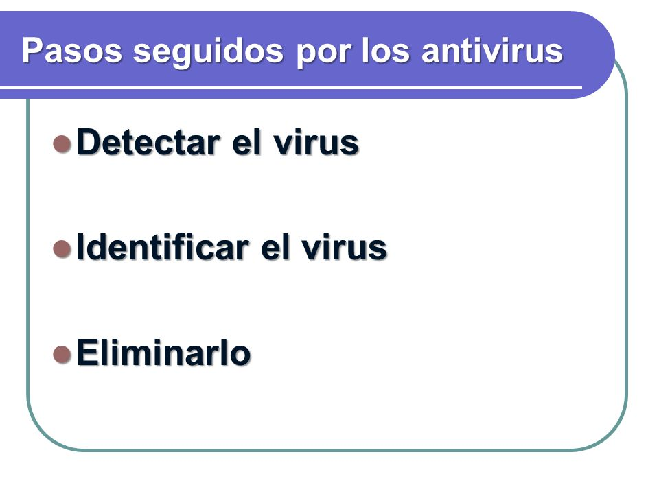 Pasos seguidos por los antivirus Detectar el virus Detectar el virus Identificar el virus Identificar el virus Eliminarlo Eliminarlo
