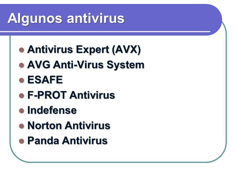 Algunos antivirus Antivirus Expert (AVX) Antivirus Expert (AVX) AVG Anti-Virus System AVG Anti-Virus System ESAFE ESAFE F-PROT Antivirus F-PROT Antivi