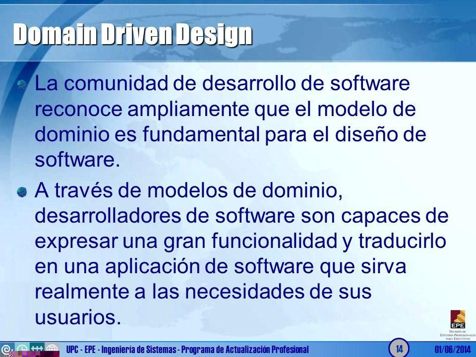 Domain Driven Design La comunidad de desarrollo de software reconoce ampliamente que el modelo de dominio es fundamental para el diseño de software. A