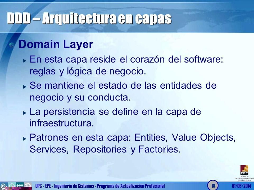 DDD – Arquitectura en capas Domain Layer En esta capa reside el corazón del software: reglas y lógica de negocio. Se mantiene el estado de las entidad