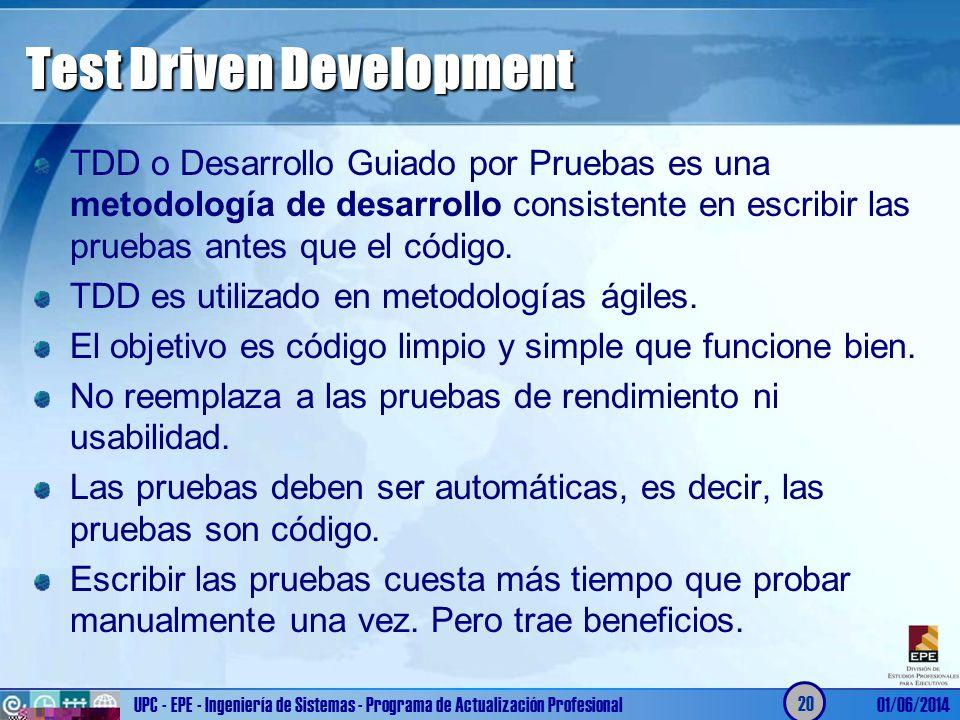 Test Driven Development TDD o Desarrollo Guiado por Pruebas es una metodología de desarrollo consistente en escribir las pruebas antes que el código.