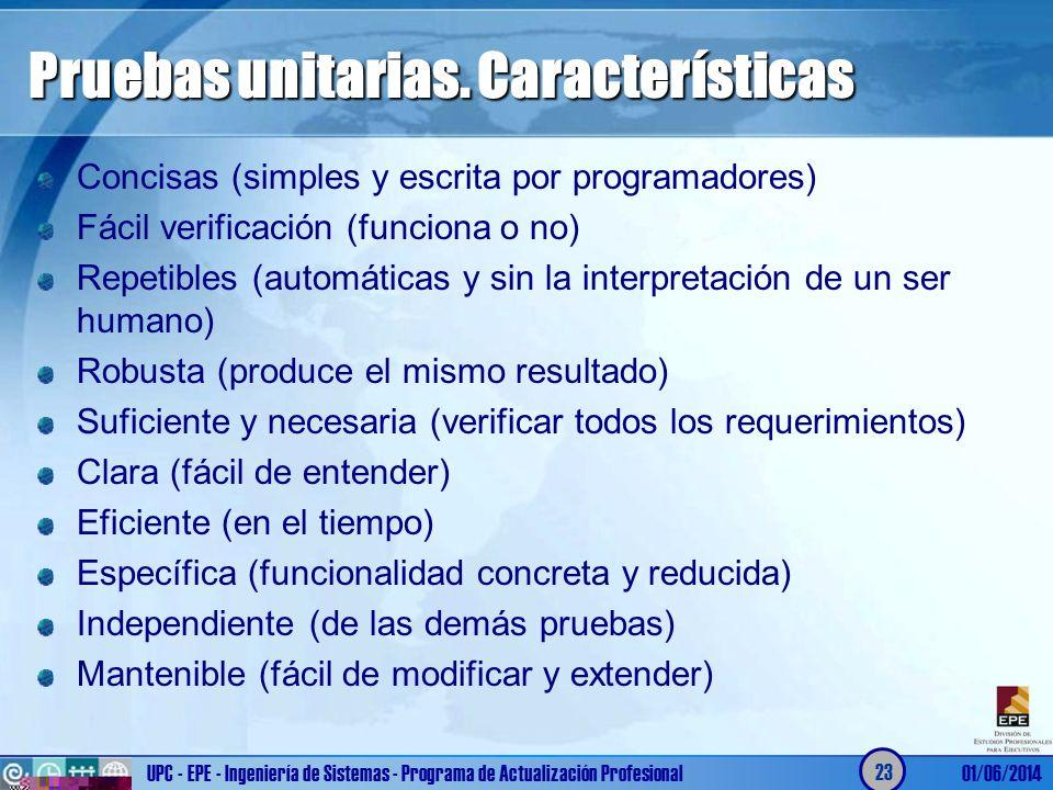Pruebas unitarias. Características Concisas (simples y escrita por programadores) Fácil verificación (funciona o no) Repetibles (automáticas y sin la