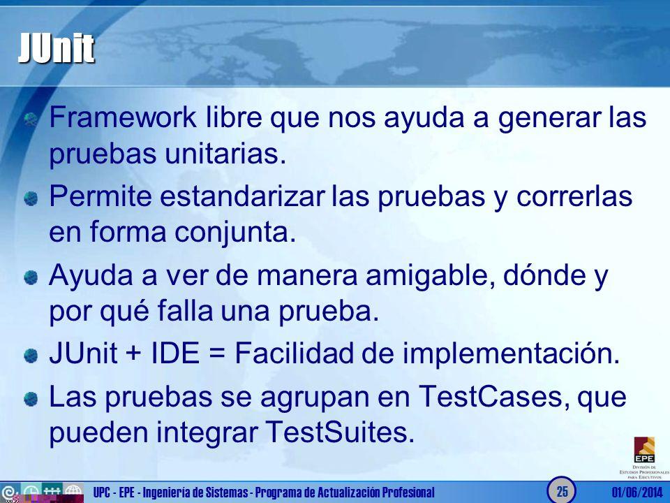 JUnit Framework libre que nos ayuda a generar las pruebas unitarias. Permite estandarizar las pruebas y correrlas en forma conjunta. Ayuda a ver de ma