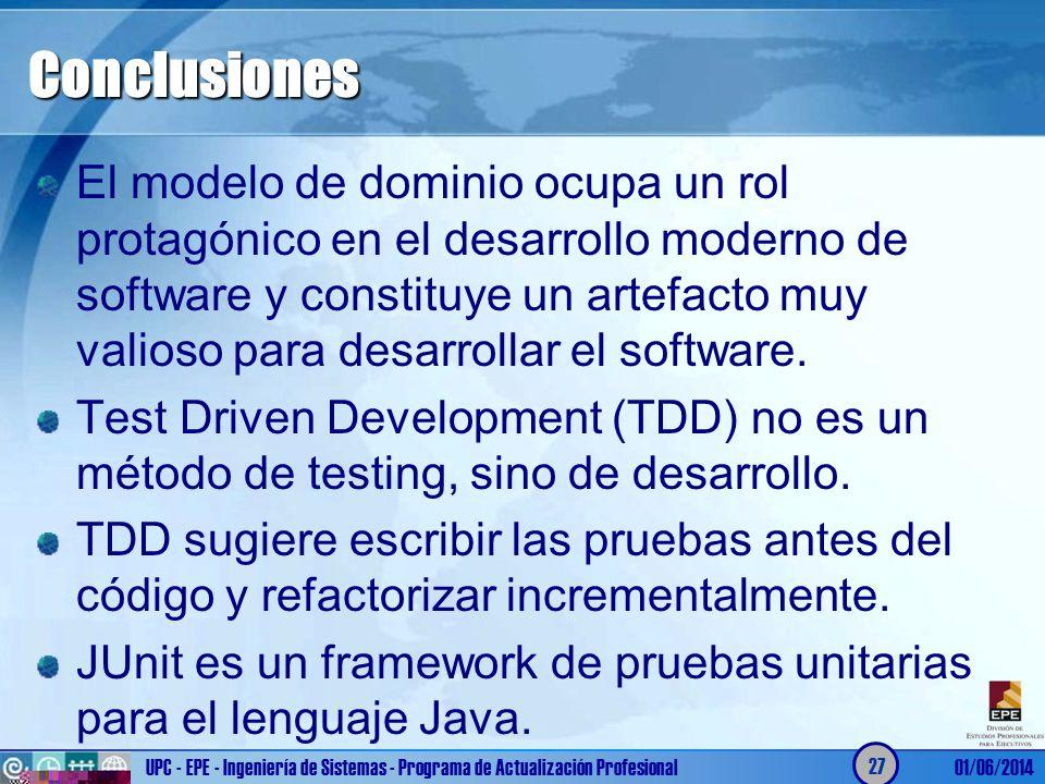 Conclusiones El modelo de dominio ocupa un rol protagónico en el desarrollo moderno de software y constituye un artefacto muy valioso para desarrollar