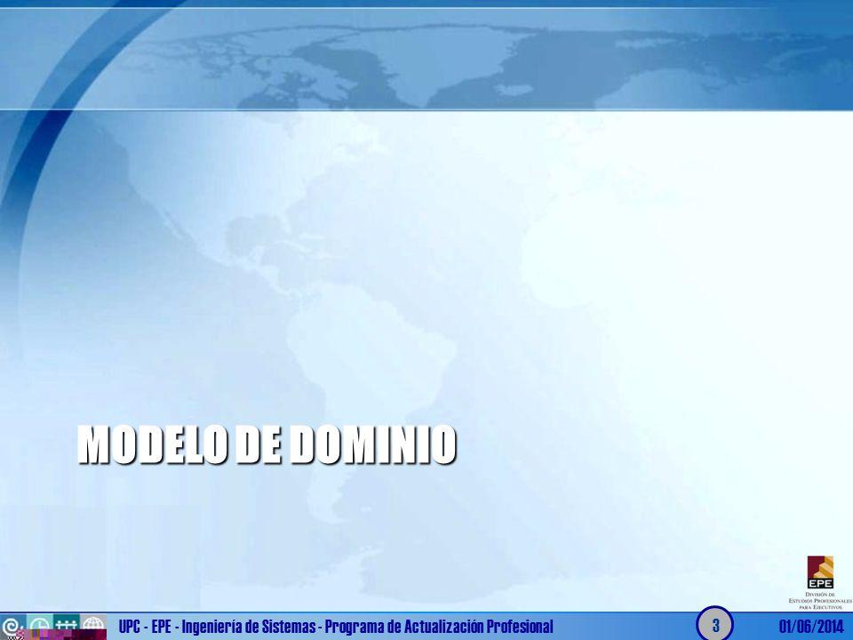 MODELO DE DOMINIO UPC - EPE - Ingeniería de Sistemas - Programa de Actualización Profesional01/06/2014 3