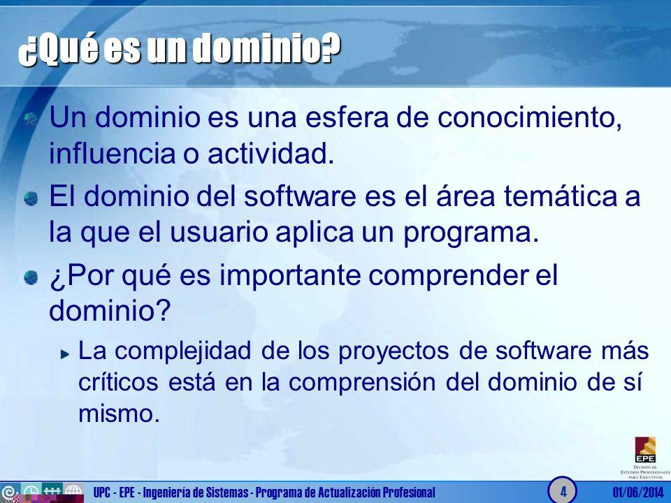 ¿Qué es un dominio? Un dominio es una esfera de conocimiento, influencia o actividad. El dominio del software es el área temática a la que el usuario