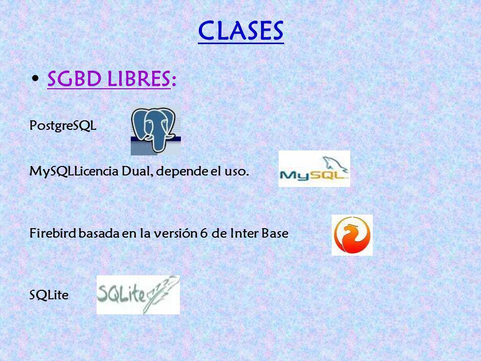 CLASES SGBD LIBRES: PostgreSQL MySQLLicencia Dual, depende el uso. Firebird basada en la versión 6 de Inter Base SQLite