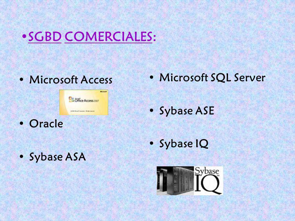 Microsoft Access Oracle Sybase ASA Microsoft SQL Server Sybase ASE Sybase IQ SGBD COMERCIALES: