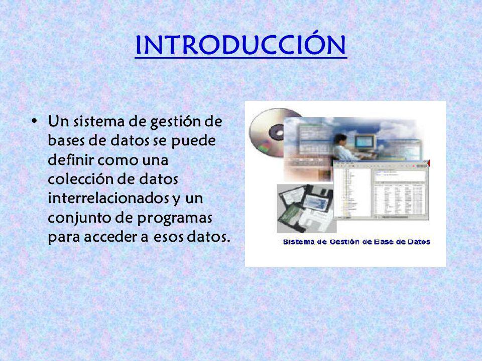 INTRODUCCIÓN Un sistema de gestión de bases de datos se puede definir como una colección de datos interrelacionados y un conjunto de programas para ac