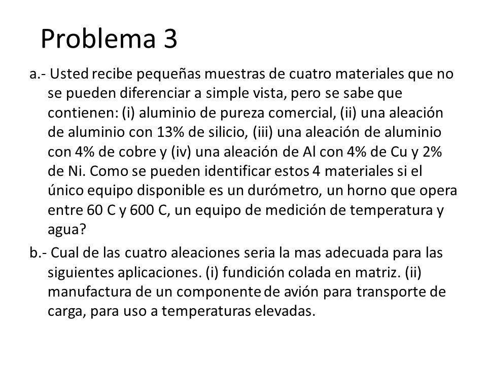 Problema 3 a.- Usted recibe pequeñas muestras de cuatro materiales que no se pueden diferenciar a simple vista, pero se sabe que contienen: (i) alumin