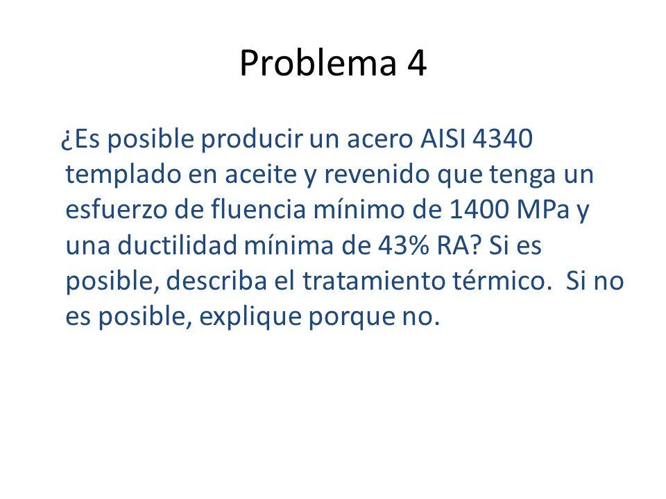 Problema 4 ¿Es posible producir un acero AISI 4340 templado en aceite y revenido que tenga un esfuerzo de fluencia mínimo de 1400 MPa y una ductilidad