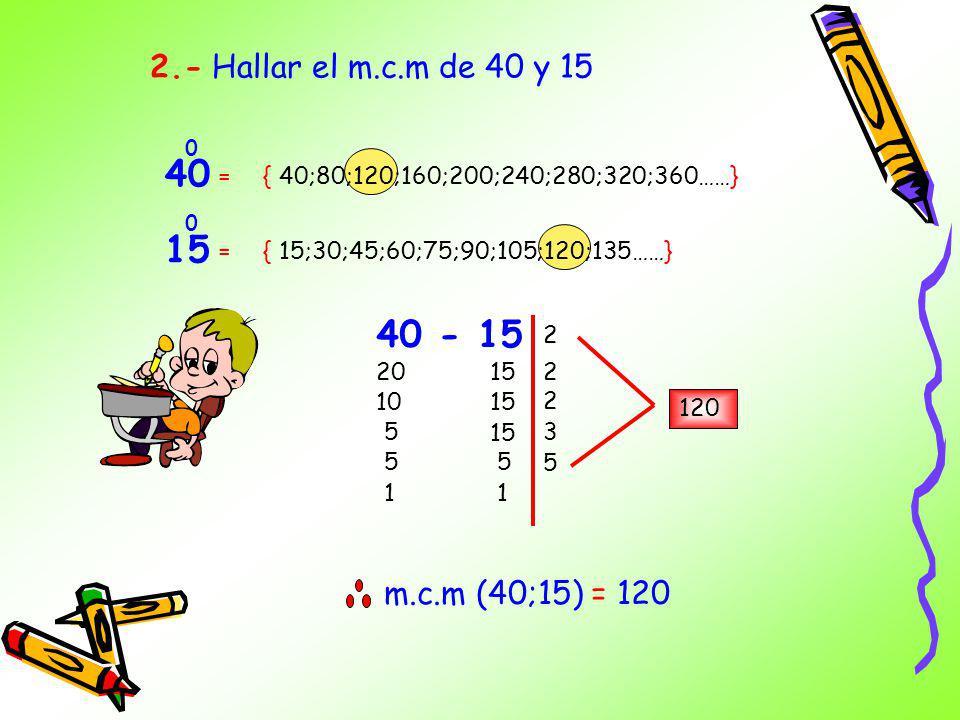 Es el menor de los múltiplos comunes positivos que comparten 2 o mas cantidades. 1.- Hallar el m.c.m de 6 y 8 8 0 6 0 = = { 6;12;18;24;30;36……} { 8;16
