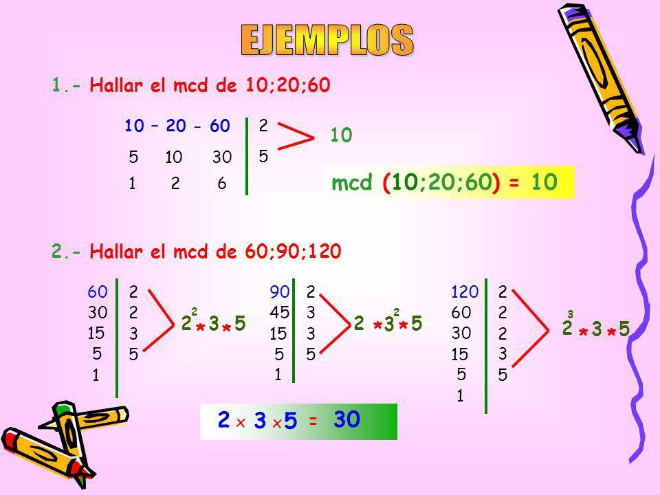 1.- Por descomposición simultanea 2.- Por descomposición canónica 84 – 126 - 315 28 3 42 1057 4615 mcd (84;126;315) = 21 8090150 21 2 2 2 2 5 40 20 10