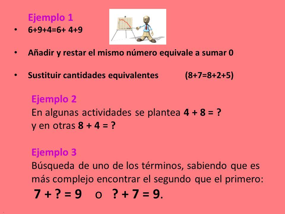 Ejemplo 2 En algunas actividades se plantea 4 + 8 = ? y en otras 8 + 4 = ? Ejemplo 3 Búsqueda de uno de los términos, sabiendo que es más complejo enc