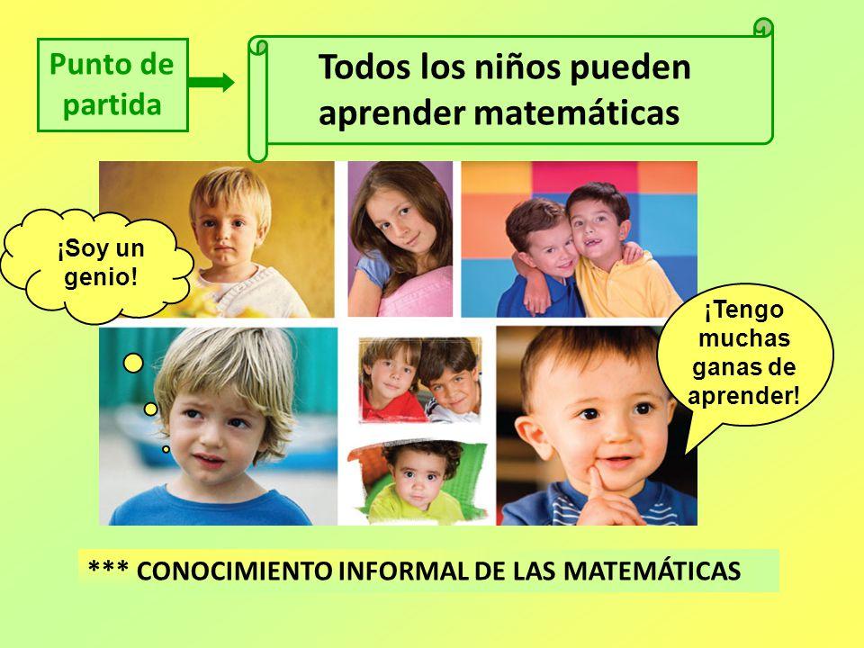Punto de partida Todos los niños pueden aprender matemáticas *** CONOCIMIENTO INFORMAL DE LAS MATEMÁTICAS ¡Soy un genio! ¡Tengo muchas ganas de aprend