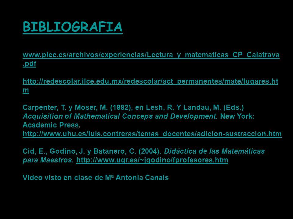BIBLIOGRAFIA www.plec.es/archivos/experiencias/Lectura_y_matematicas_CP_Calatrava.pdf http://redescolar.ilce.edu.mx/redescolar/act_permanentes/mate/lu