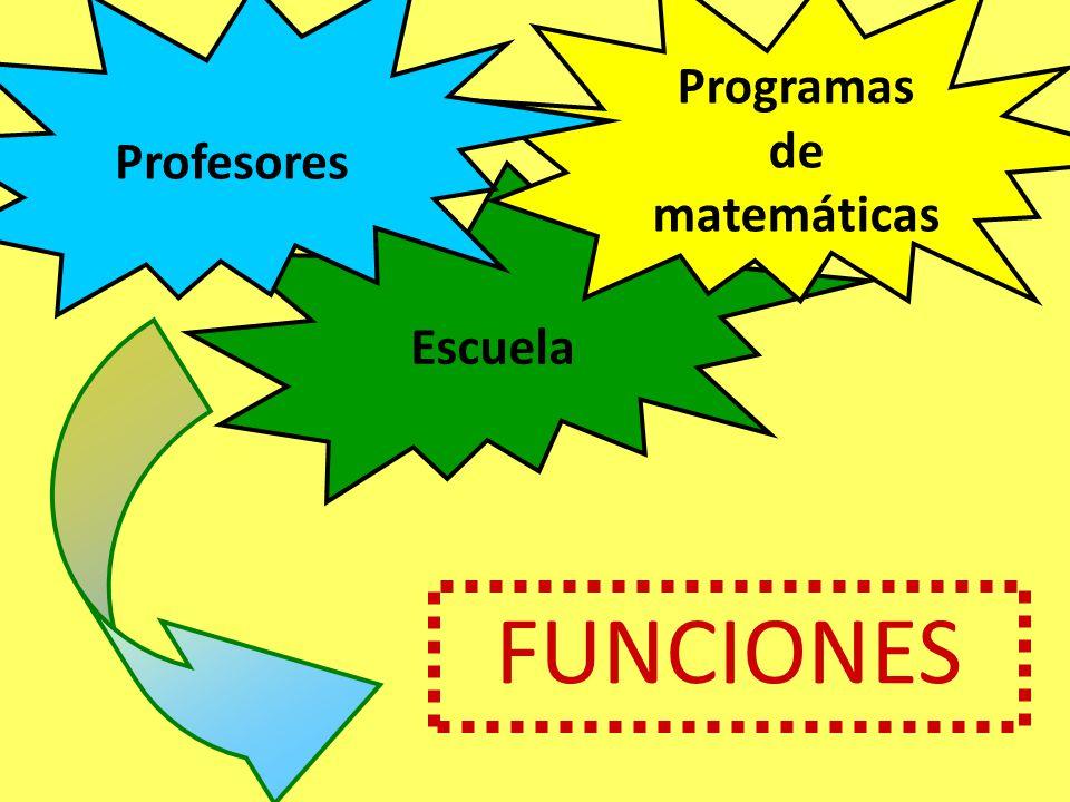 Profesores Programas de matemáticas Escuela FUNCIONES