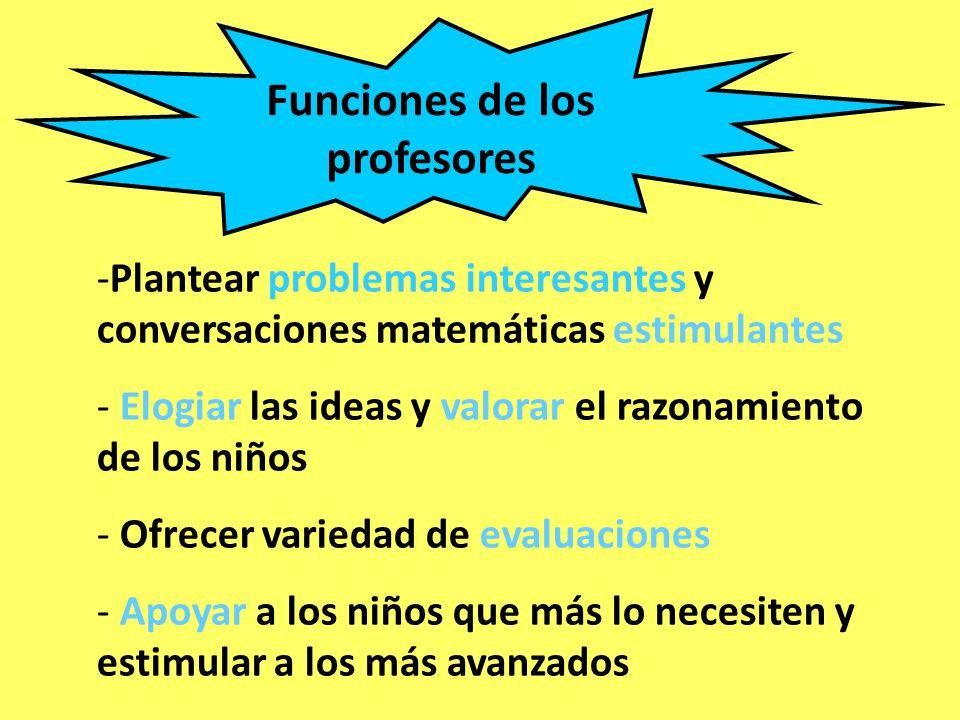 Funciones de los profesores -Plantear problemas interesantes y conversaciones matemáticas estimulantes - Elogiar las ideas y valorar el razonamiento d