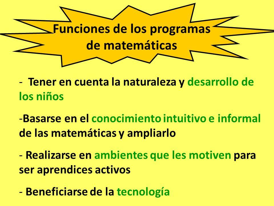 Funciones de los programas de matemáticas - Tener en cuenta la naturaleza y desarrollo de los niños -Basarse en el conocimiento intuitivo e informal d