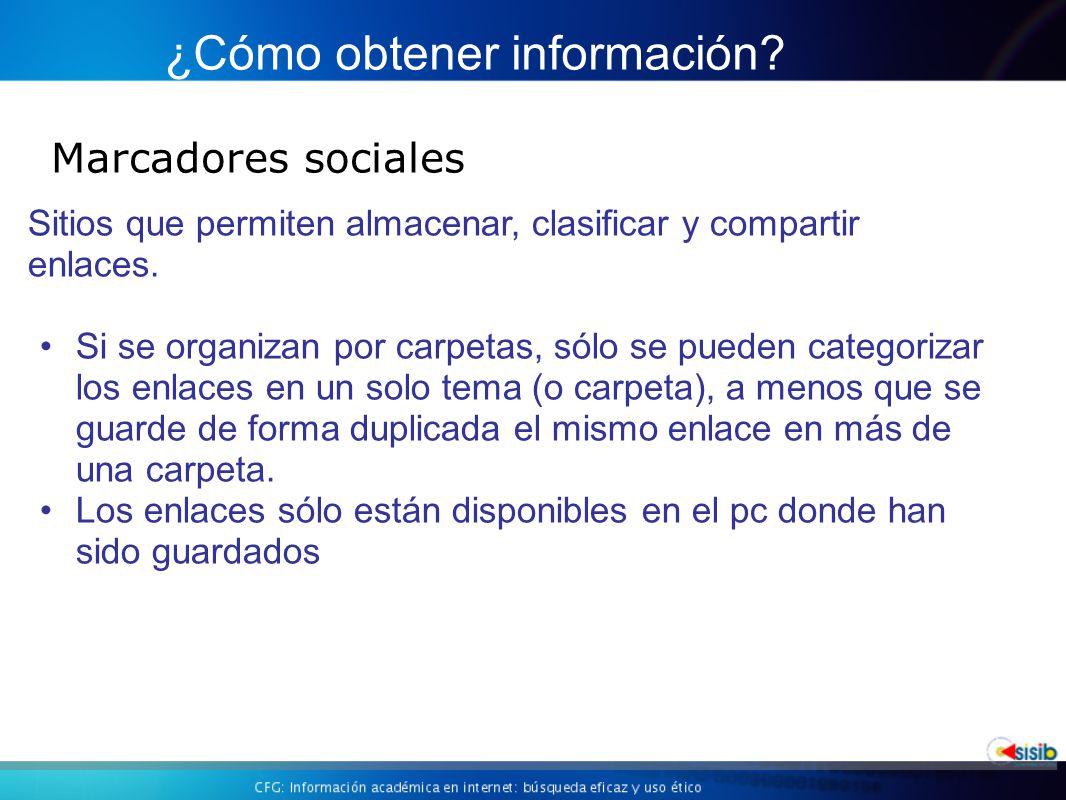 Marcadores sociales ¿Cómo obtener información.