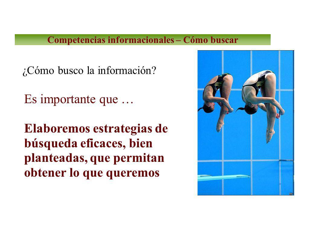 Competencias informacionales – Cómo buscar ¿Cómo busco la información.