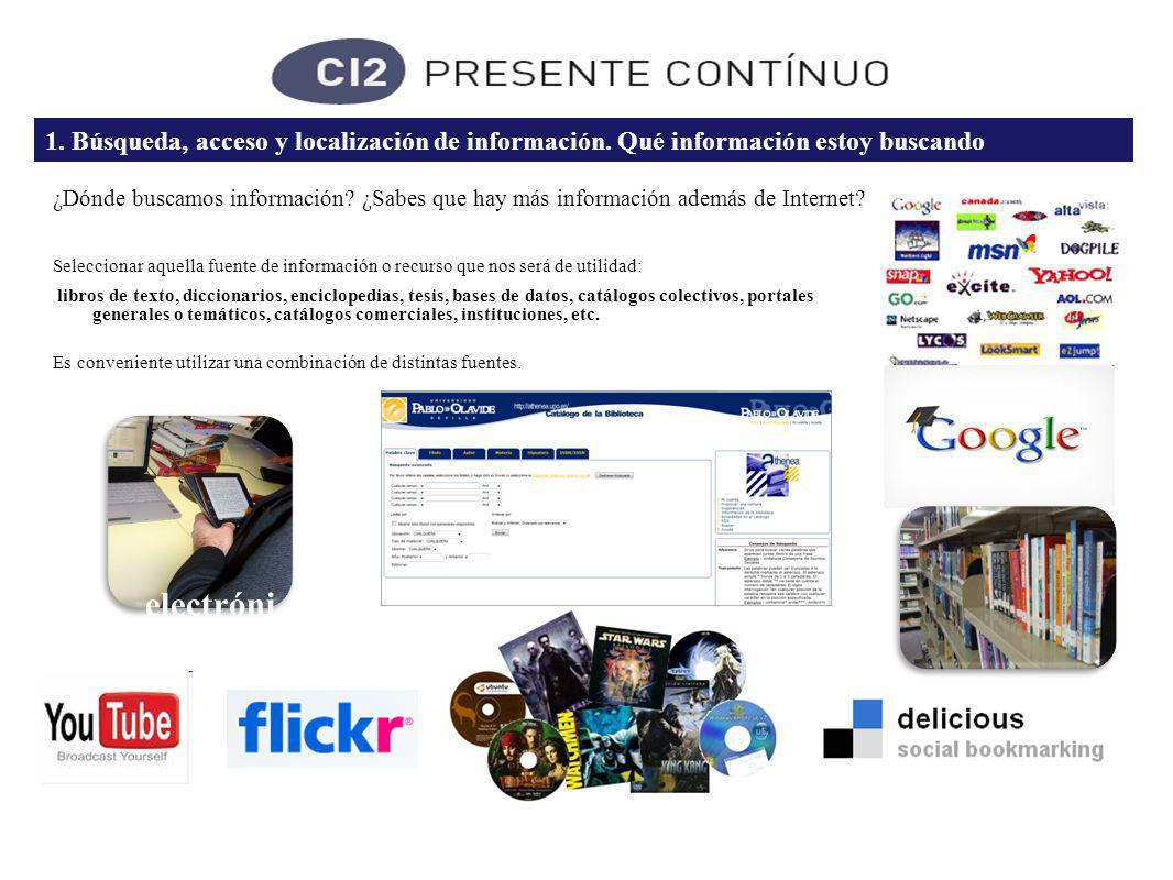 1. Búsqueda, acceso y localización de información.