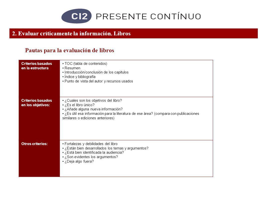 Criterios basados en la estructura TOC (tabla de contenidos) Resumen Introducción/conclusión de los capítulos Índice y bibliografía Punto de vista del autor y recursos usados Criterios basados en los objetivos: ¿Cuales son los objetivos del libro.