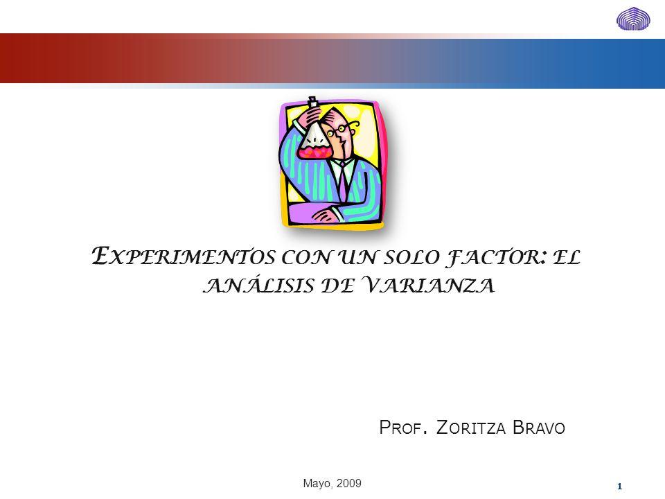 E XPERIMENTOS CON UN SOLO FACTOR : EL ANÁLISIS DE VARIANZA P ROF. Z ORITZA B RAVO Mayo, 2009 1