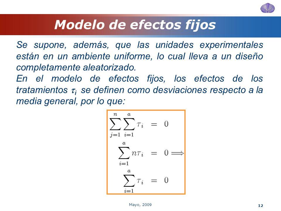 12 Modelo de efectos fijos Se supone, además, que las unidades experimentales están en un ambiente uniforme, lo cual lleva a un diseño completamente a