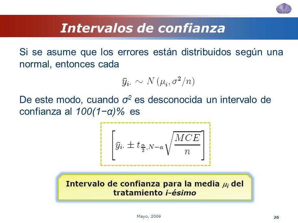 26 Intervalos de confianza Si se asume que los errores están distribuidos según una normal, entonces cada De este modo, cuando σ 2 es desconocida un i