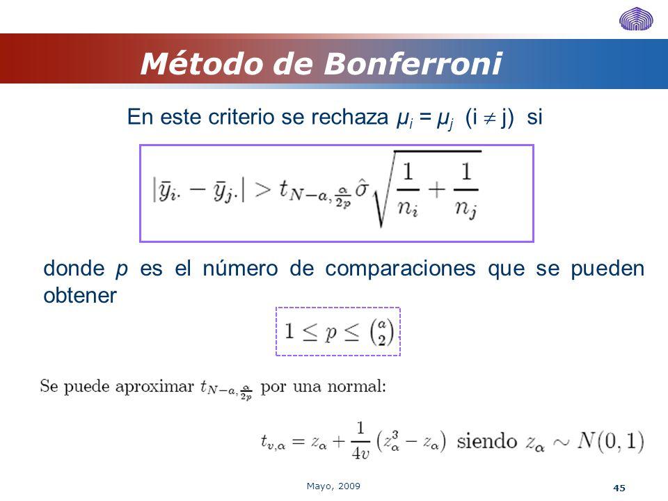 45 Método de Bonferroni En este criterio se rechaza μ i = μ j (i j) si donde p es el número de comparaciones que se pueden obtener Mayo, 2009