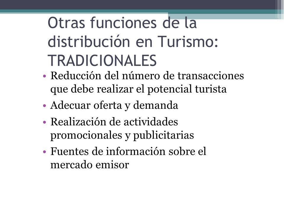 Otras funciones de la distribución en Turismo: TRADICIONALES Reducción del número de transacciones que debe realizar el potencial turista Adecuar oferta y demanda Realización de actividades promocionales y publicitarias Fuentes de información sobre el mercado emisor