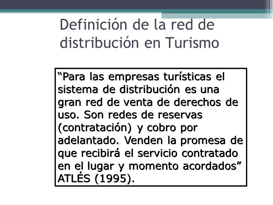 Definición de la red de distribución en Turismo Para las empresas turísticas el sistema de distribución es una gran red de venta de derechos de uso.