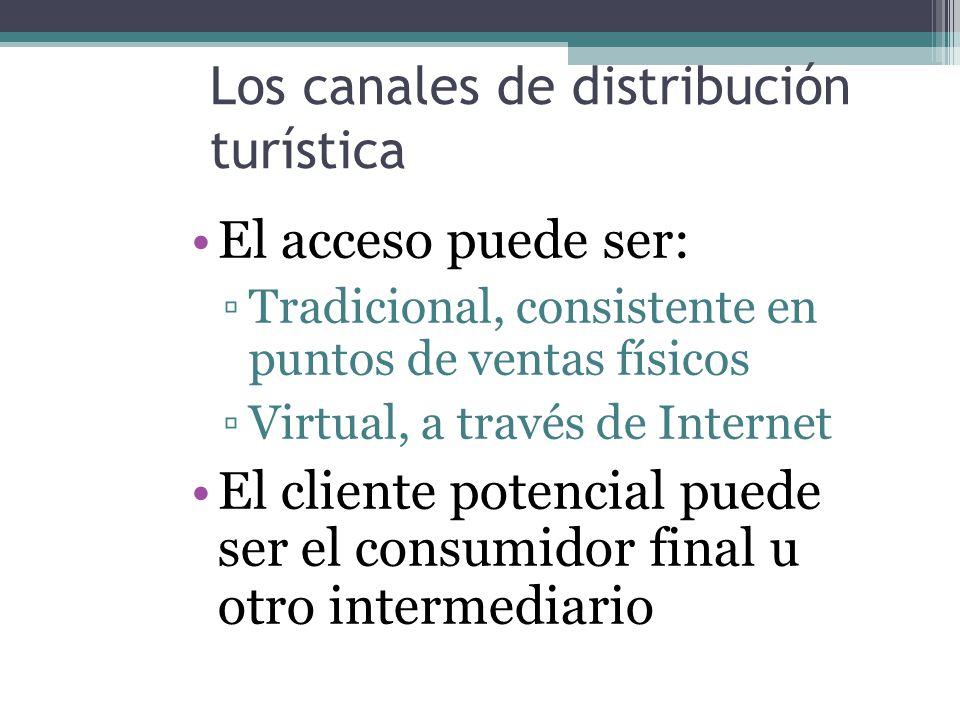 Los canales de distribución turística El acceso puede ser: Tradicional, consistente en puntos de ventas físicos Virtual, a través de Internet El cliente potencial puede ser el consumidor final u otro intermediario