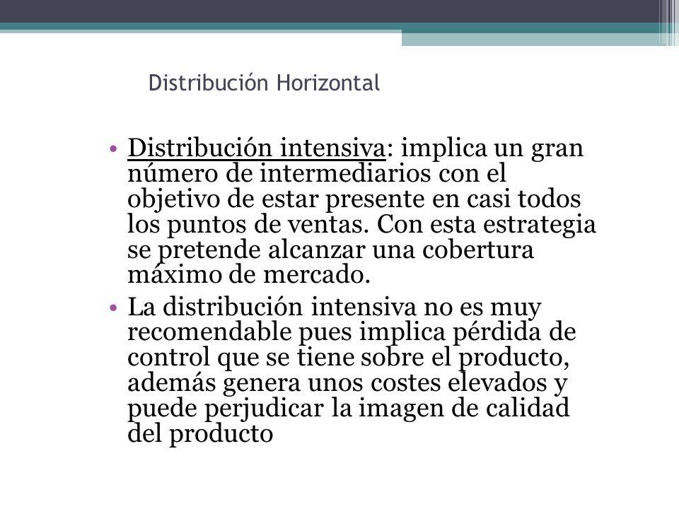 Distribución Horizontal Distribución intensiva: implica un gran número de intermediarios con el objetivo de estar presente en casi todos los puntos de ventas.
