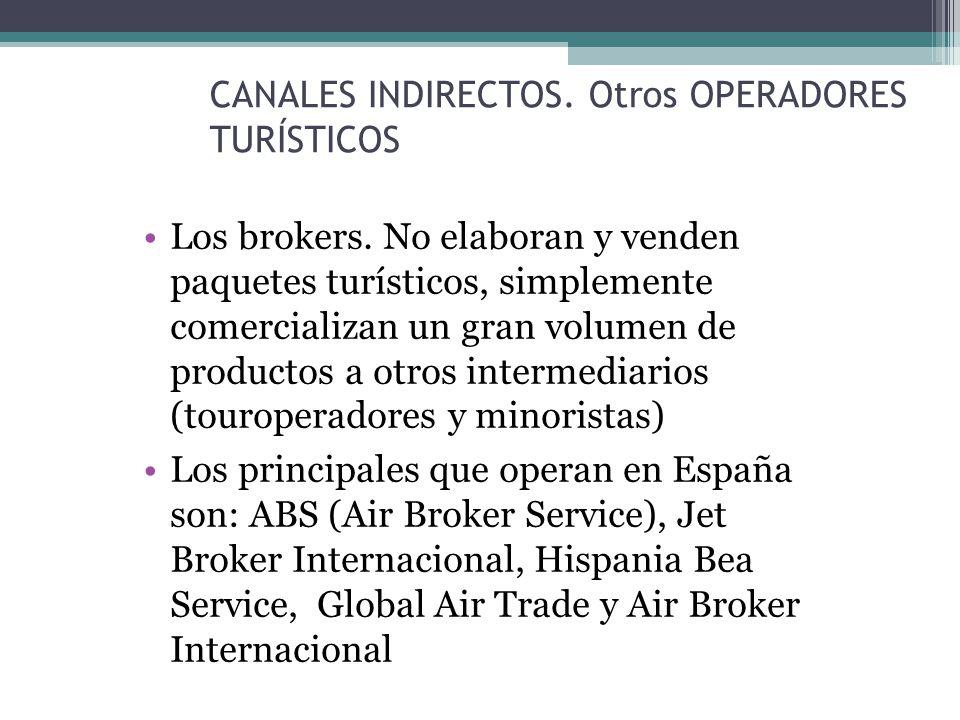 CANALES INDIRECTOS. Otros OPERADORES TURÍSTICOS Los brokers.