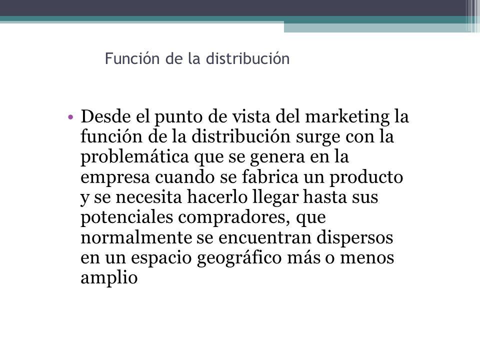 Función de la distribución Desde el punto de vista del marketing la función de la distribución surge con la problemática que se genera en la empresa cuando se fabrica un producto y se necesita hacerlo llegar hasta sus potenciales compradores, que normalmente se encuentran dispersos en un espacio geográfico más o menos amplio