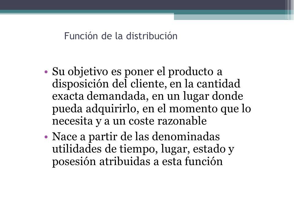 Función de la distribución Su objetivo es poner el producto a disposición del cliente, en la cantidad exacta demandada, en un lugar donde pueda adquirirlo, en el momento que lo necesita y a un coste razonable Nace a partir de las denominadas utilidades de tiempo, lugar, estado y posesión atribuidas a esta función