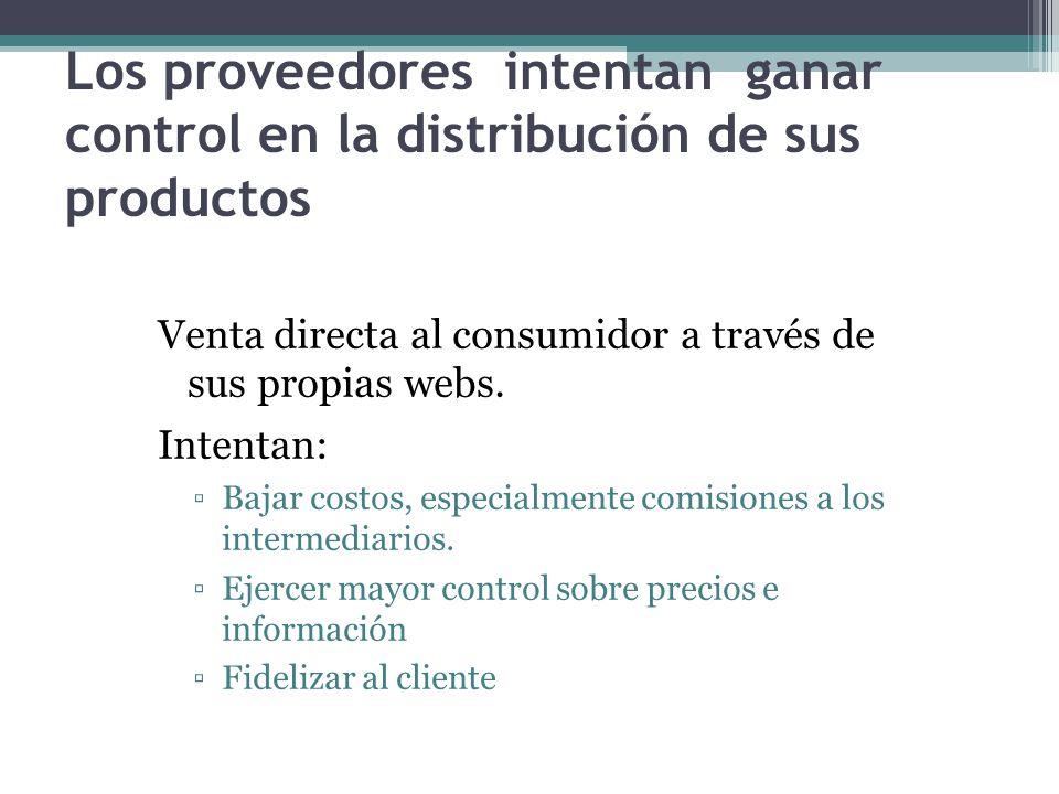 Los proveedores intentan ganar control en la distribución de sus productos Venta directa al consumidor a través de sus propias webs.