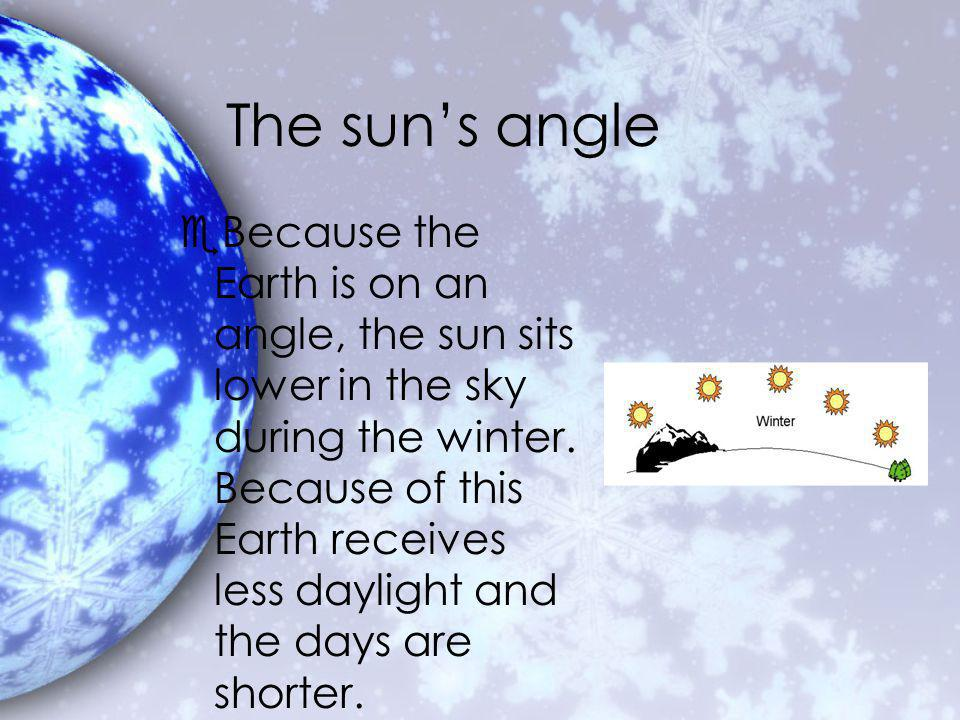 The suns angle eBecause the Earth is on an angle, the sun sits lower in the sky during the winter.
