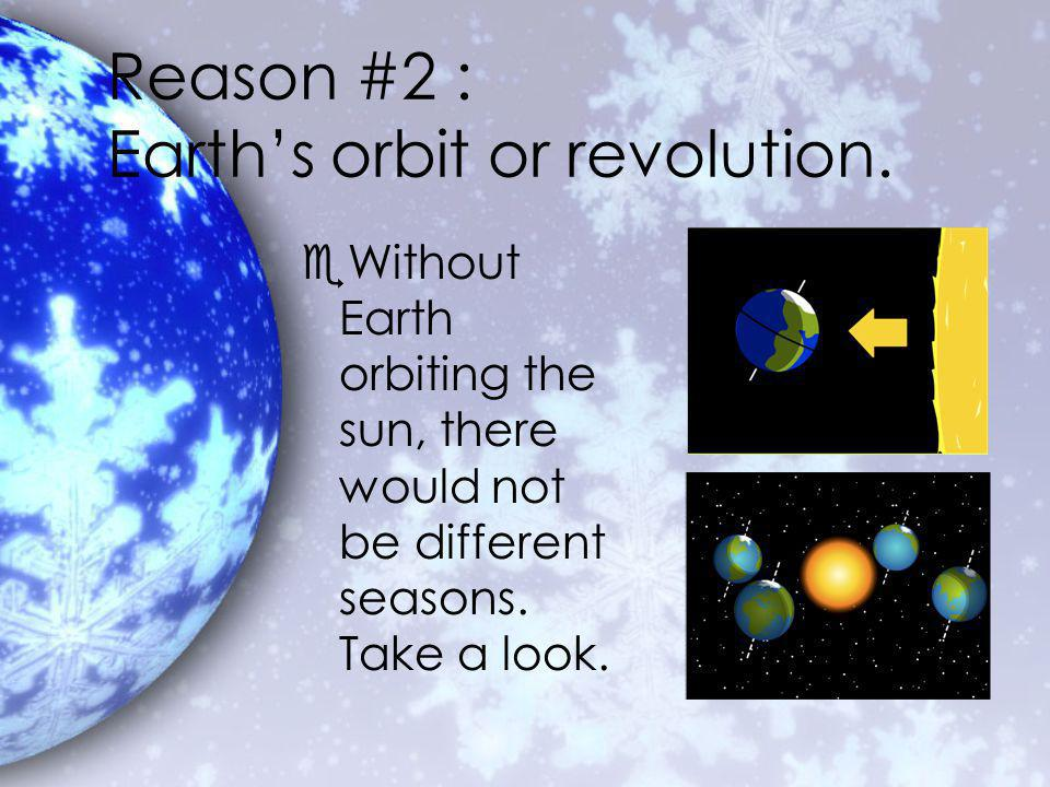 Reason #2 : Earths orbit or revolution.