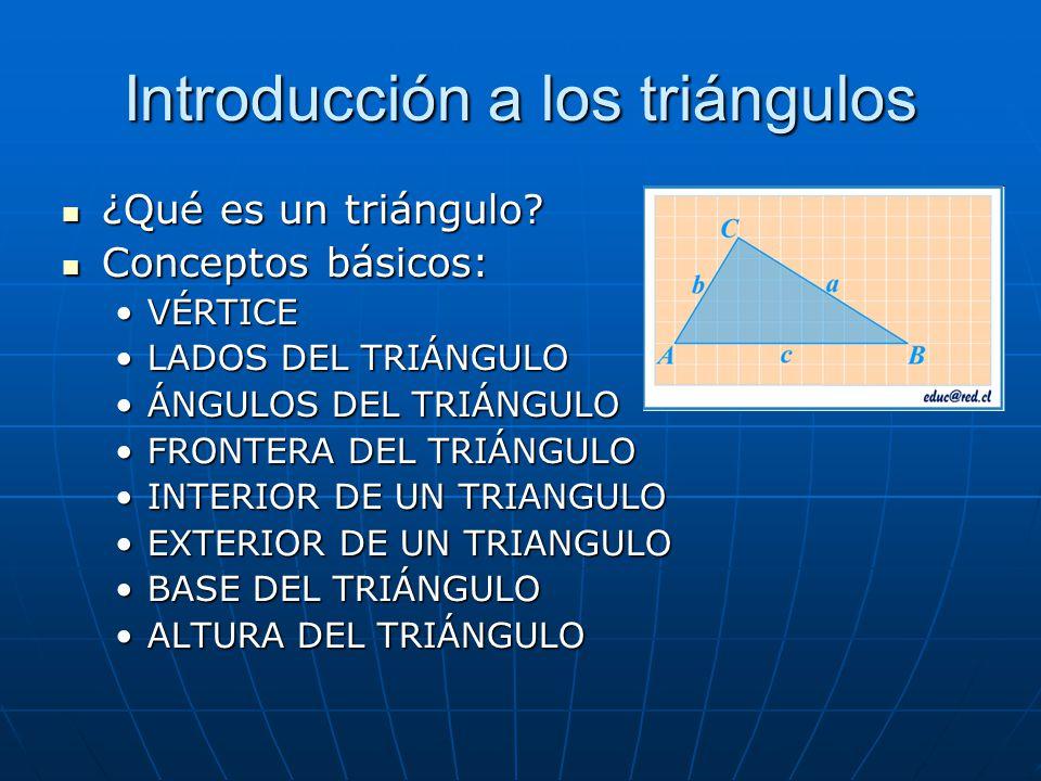 Introducción a los triángulos ¿Qué es un triángulo? ¿Qué es un triángulo? Conceptos básicos: Conceptos básicos: VÉRTICEVÉRTICE LADOS DEL TRIÁNGULOLADO
