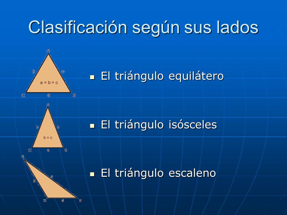 Clasificación según sus lados El triángulo equilátero El triángulo equilátero El triángulo isósceles El triángulo isósceles El triángulo escaleno El t